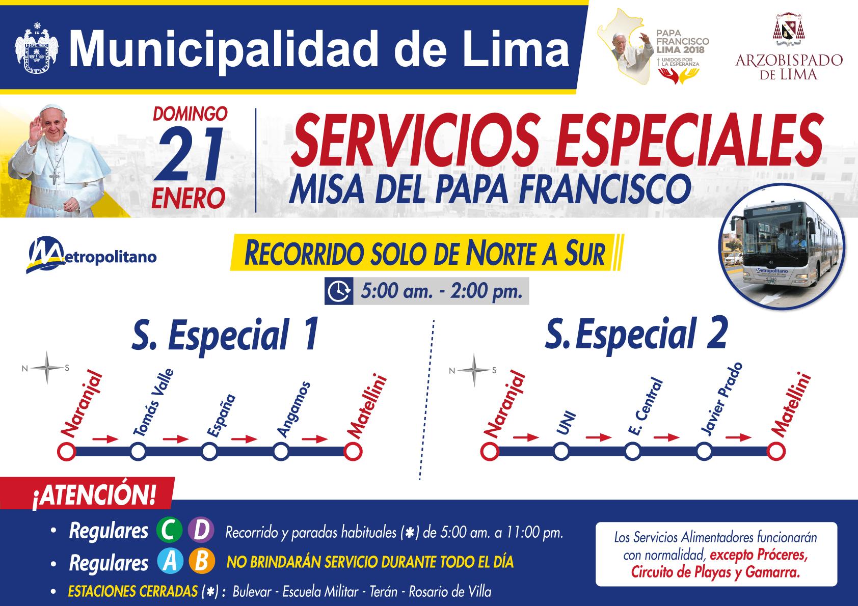 METROPOLITANO 01_SERVICIO ESPECIAL_MISA DEL PAPA